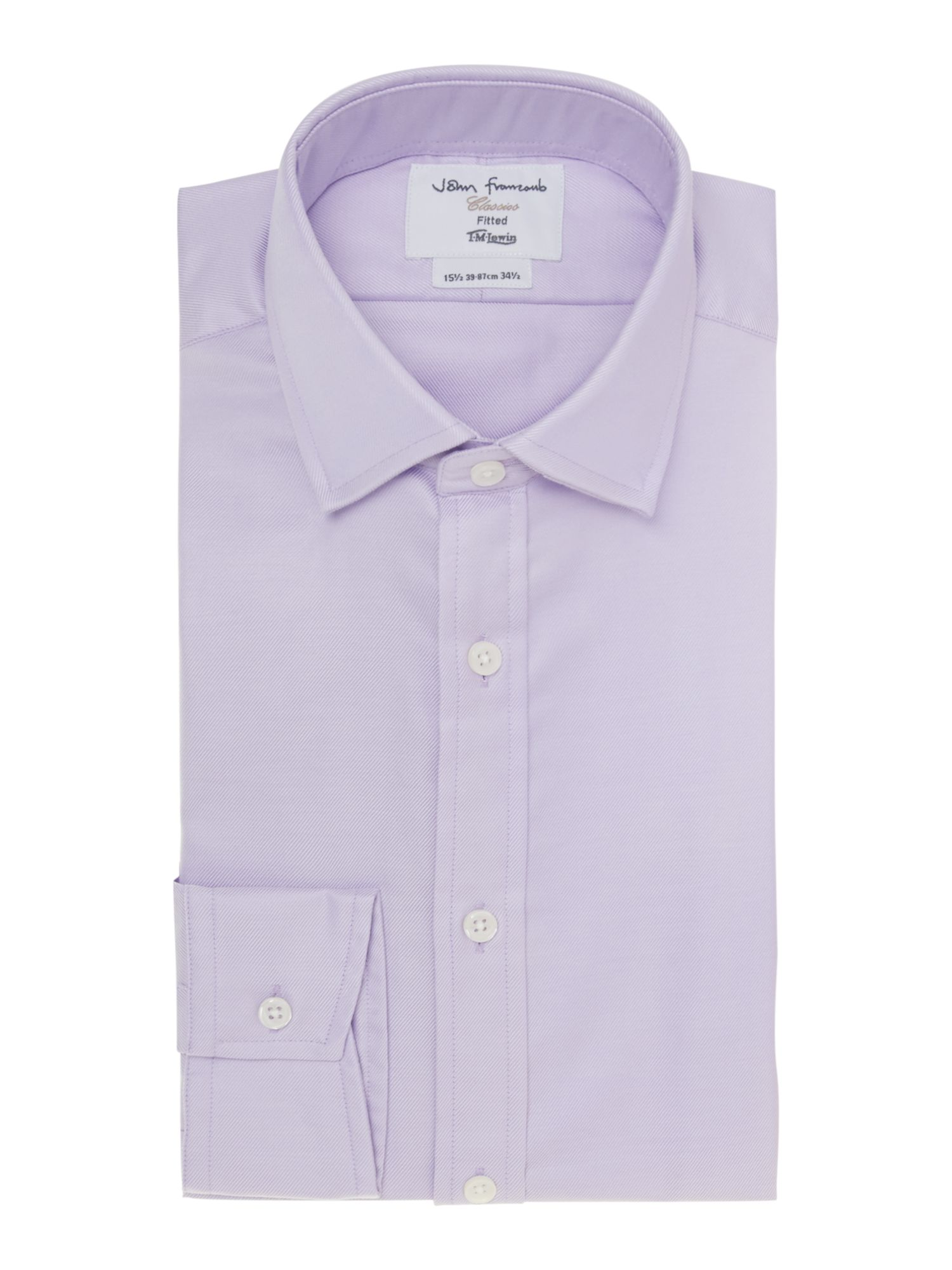 Mens TM Lewin Plain Fitted Long Sleeve Formal Shirt Lilac