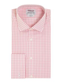 TM Lewin Block Check Slim Fit Long Sleeve Formal Shirt