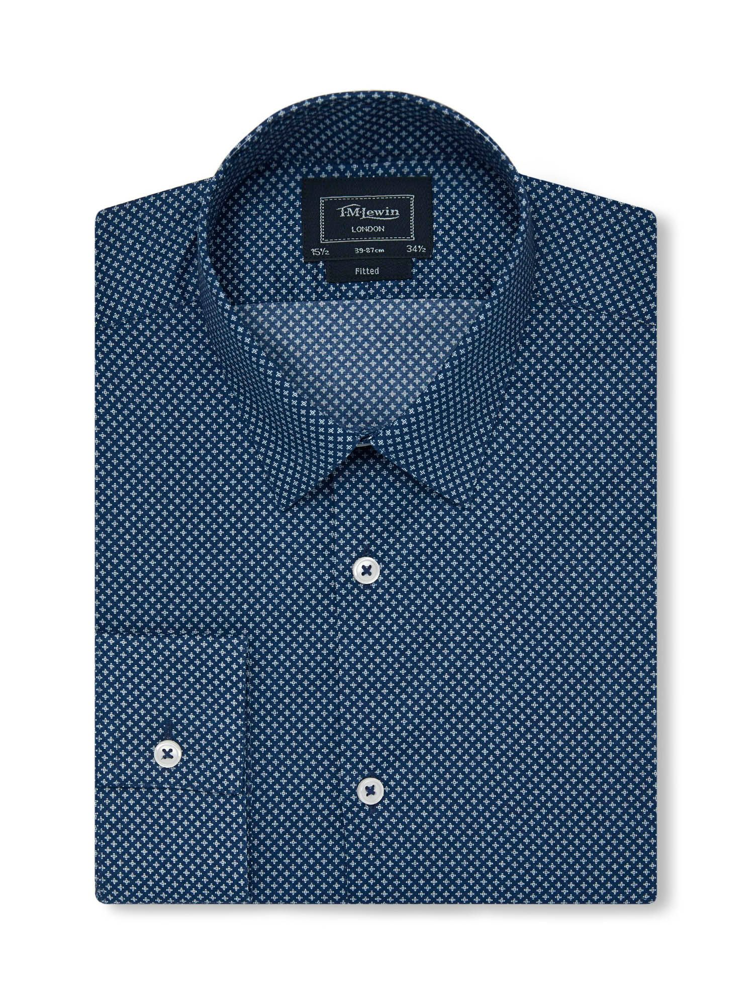 TM Lewin Men's TM Lewin Print Fully Fitted Classic Collar Formal Shirt, Navy
