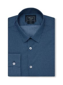 TM Lewin Print Fully Fitted Classic Collar Formal Shirt