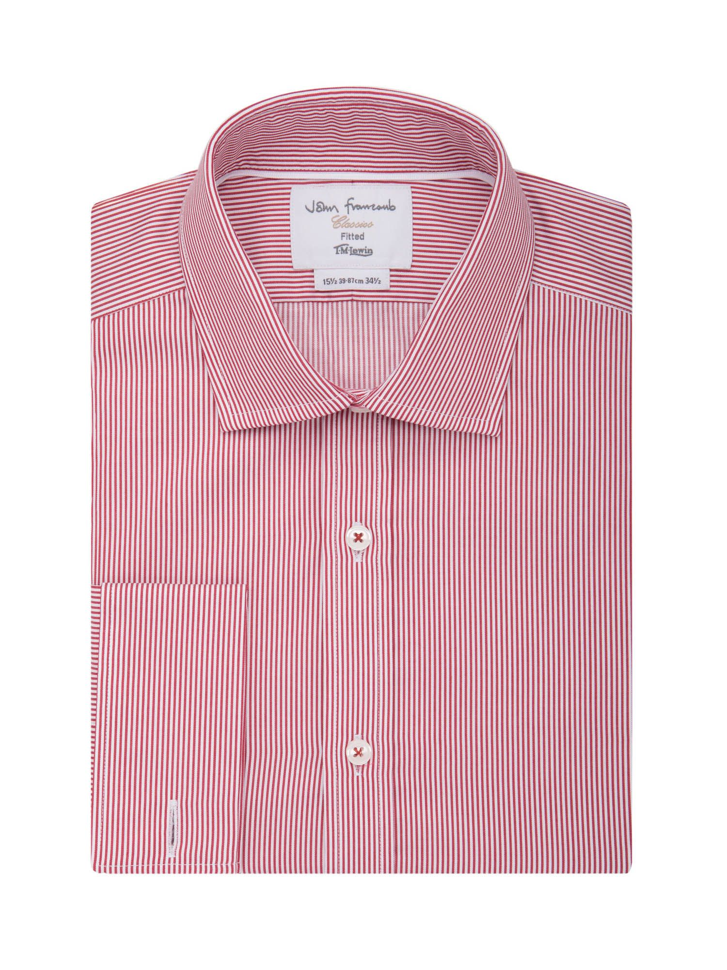 TM Lewin Men's TM Lewin Stripe Fully Fitted Classic Collar Formal Shirt, Red