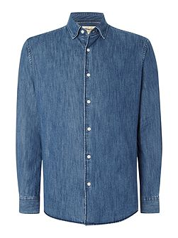 Denim Invisible Button Down Casual Shirt