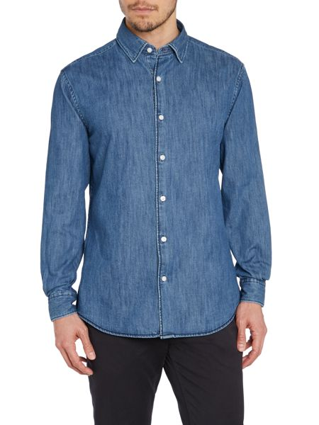 TM Lewin Denim Invisible Button Down Casual Shirt