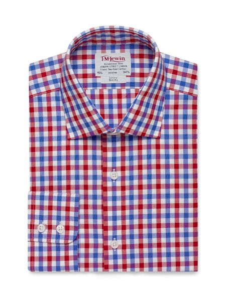 TM Lewin Check Slim Fit Long Sleeve Classic Collar Shirt