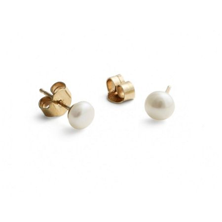 Jersey Pearl 9ct gold small white earrings