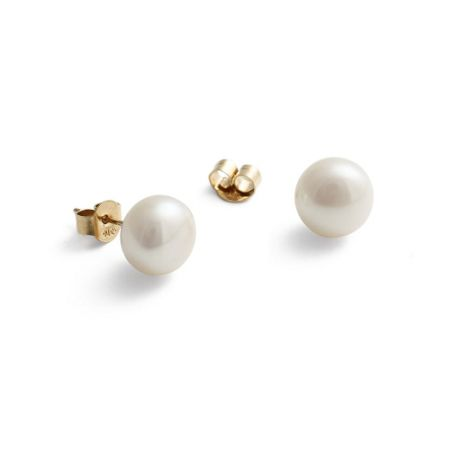 Jersey Pearl 9ct gold medium white earrings