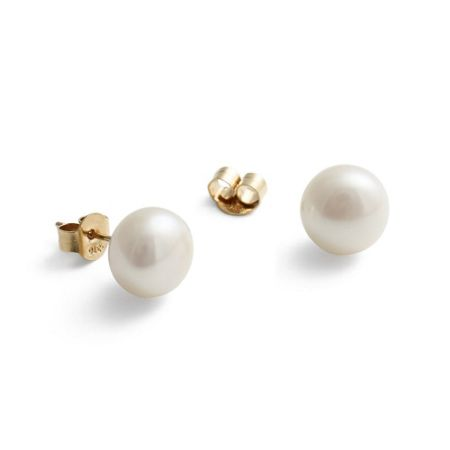 Jersey Pearl 9ct gold large white earrings