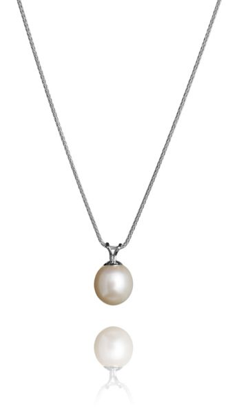 Jersey Pearl White pearl 9ct white gold pendant