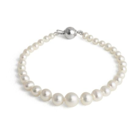 Jersey Pearl White graduated bracelet