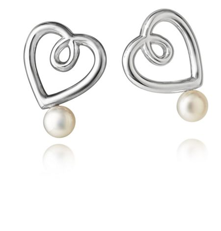 Jersey Pearl Silver double heart stud earrings