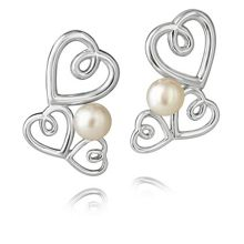 Jersey Pearl Silver triple heart studs earrings