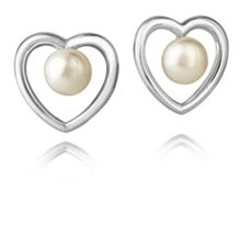 Jersey Pearl Silver heart stud earrings