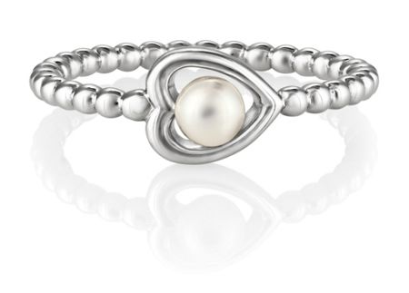 Jersey Pearl Silver heart ring