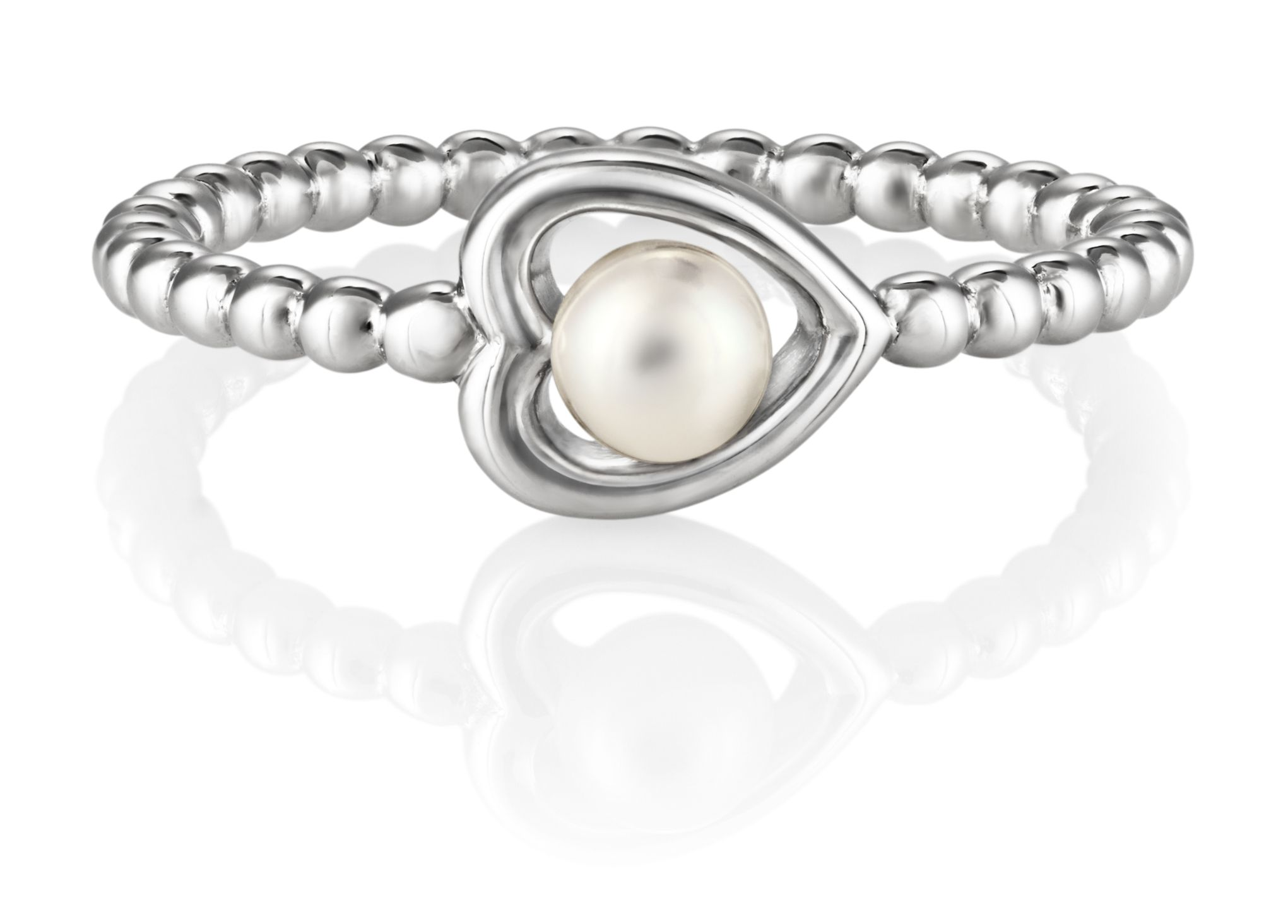 Jersey Pearl Jersey Pearl Silver heart ring, Silver