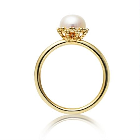 Jersey Pearl Emma kate gold pearl filigree ring