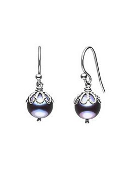 Emma kate black pearl filigree drop earrings