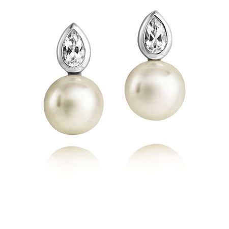 Jersey Pearl Freshwater Pearls & White Topaz Earrings