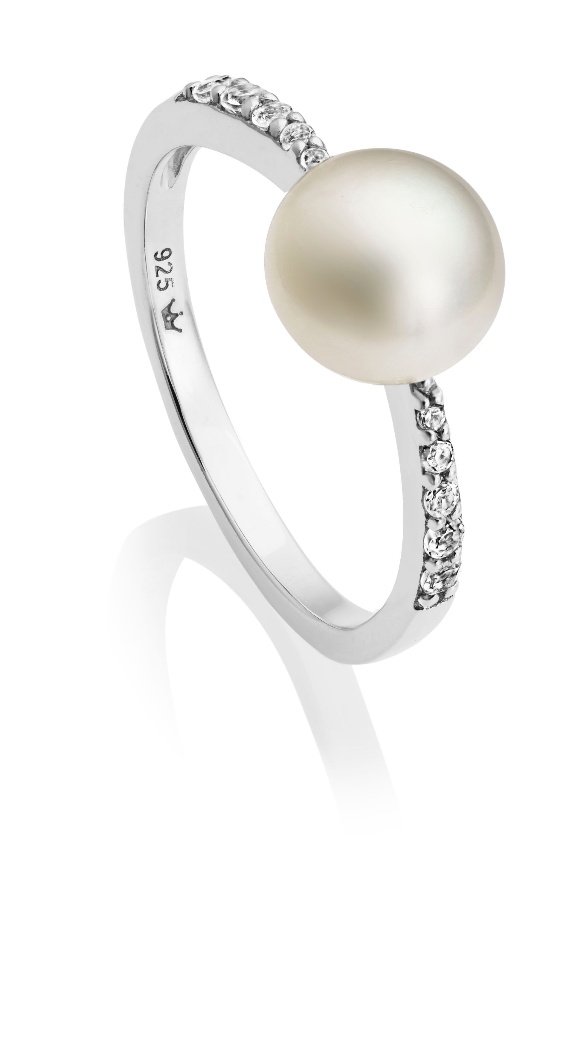 Jersey Pearl Jersey Pearl Freshwater Pearl and White Topaz Ring, White