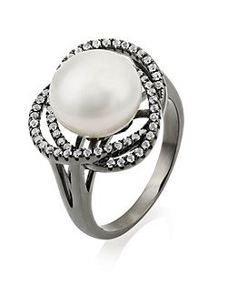 Freshwater Pearl and White Topaz Ring