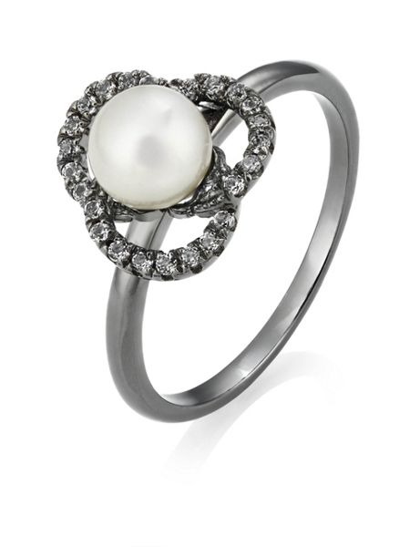Jersey Pearl Freshwater Pearl and White Topaz Ring