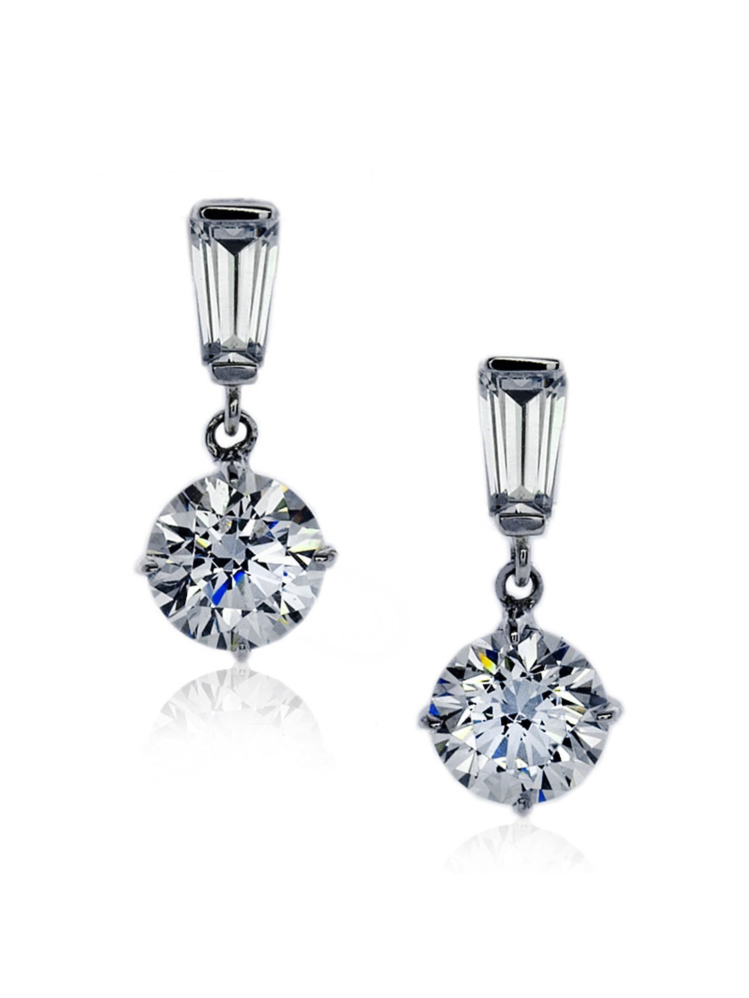 2ct Baguette Brilliant Round Drop Earrings