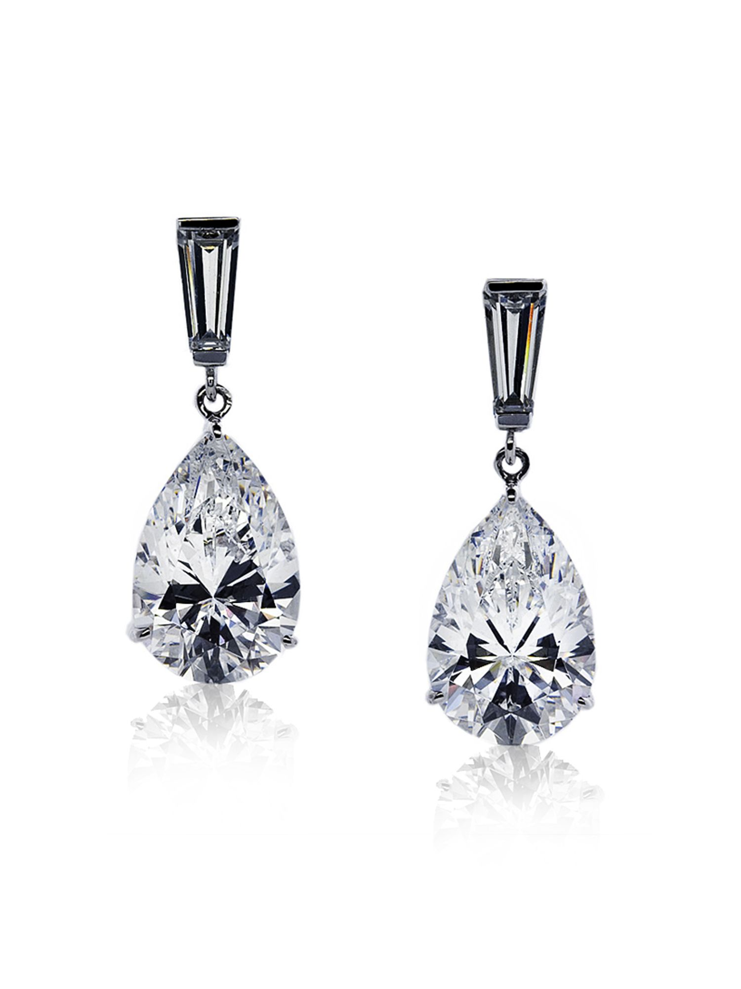 2ct Baguette Pear Drop Earrings