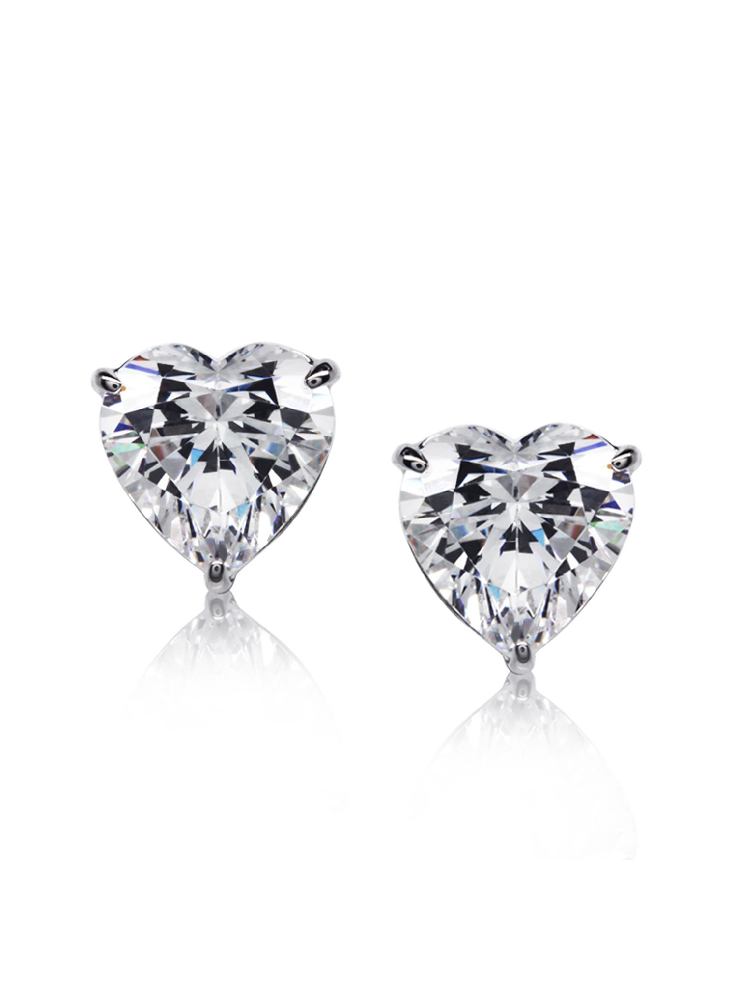 2ct Heart Solitaire Studs