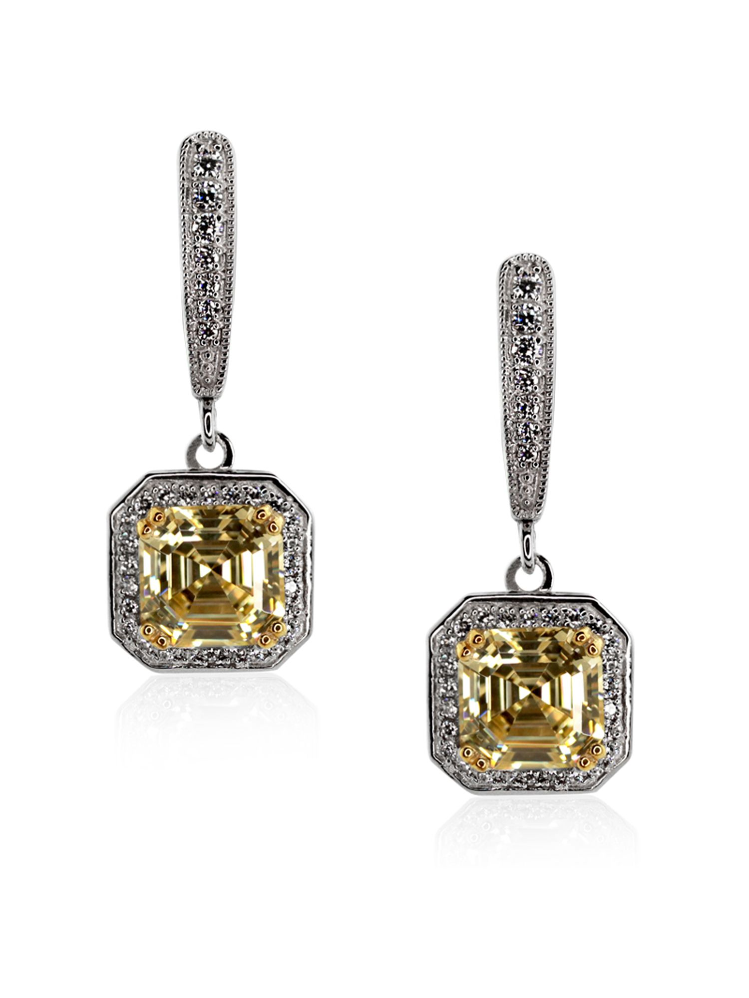 Fancy Yellow Petite Asscher Drop Earrings