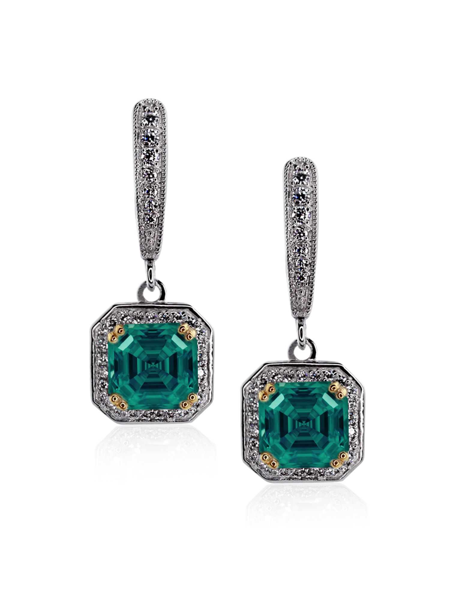 Emerald Petite Asscher Drop Earrings