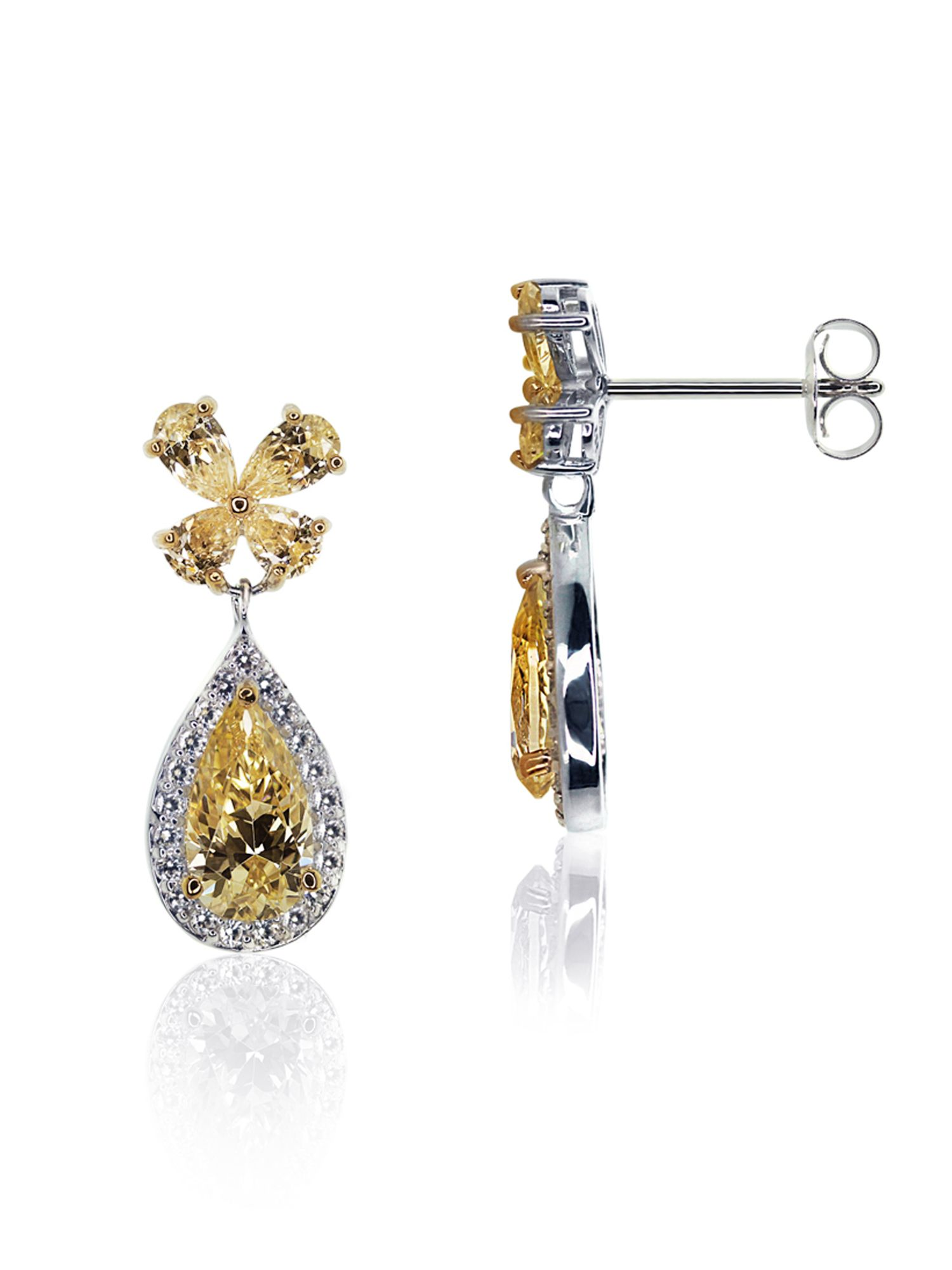 Fancy yellow flower drop earrings
