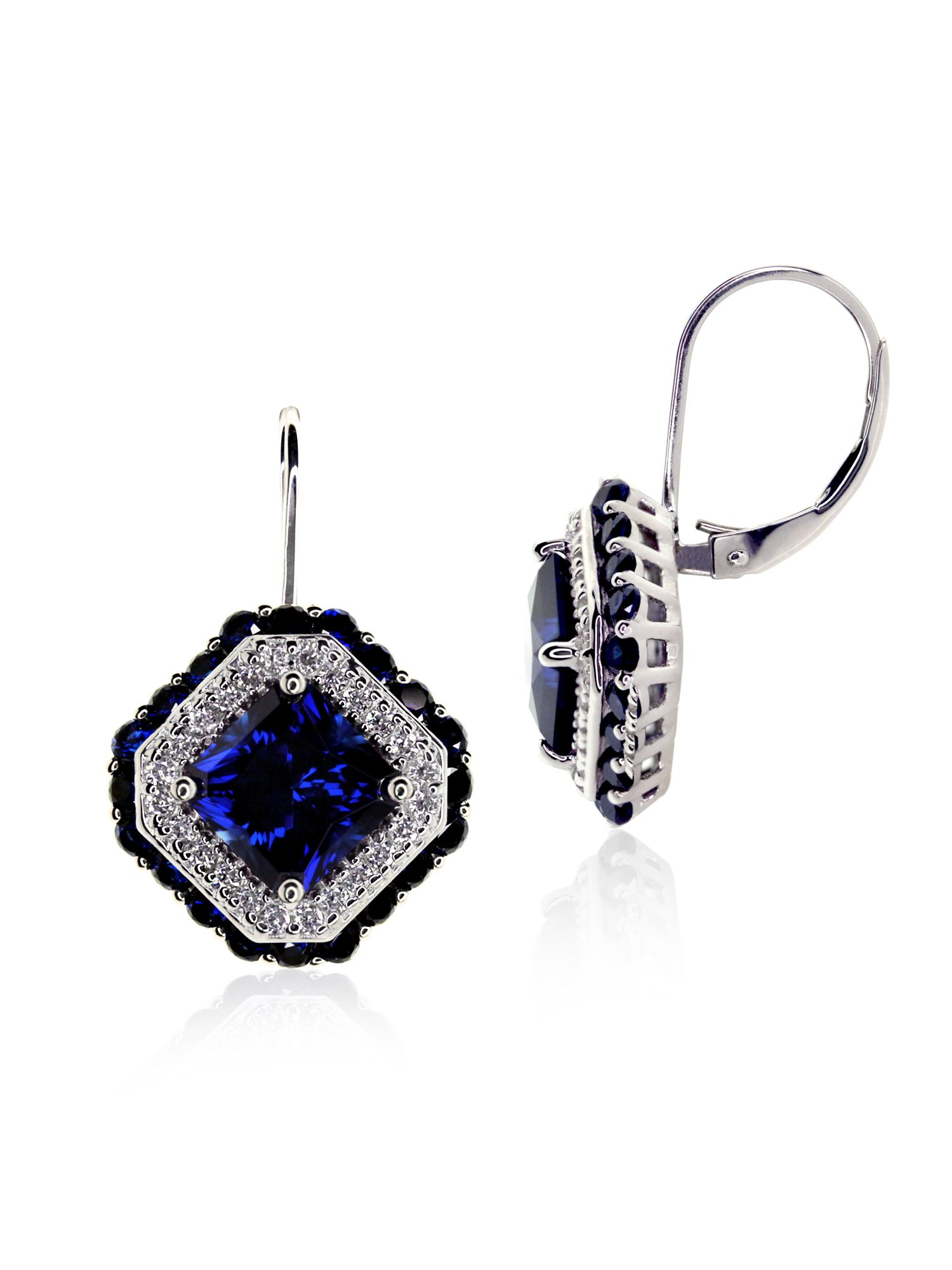 Sapphire Asscher Drop Earrings