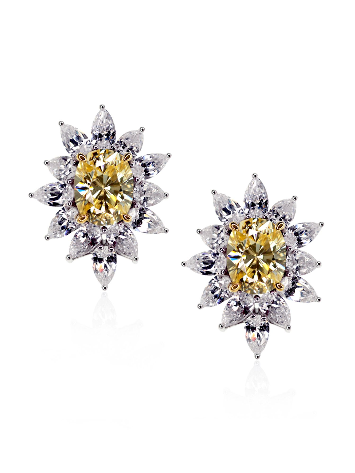 Fancy Yellow Cluster Earrings