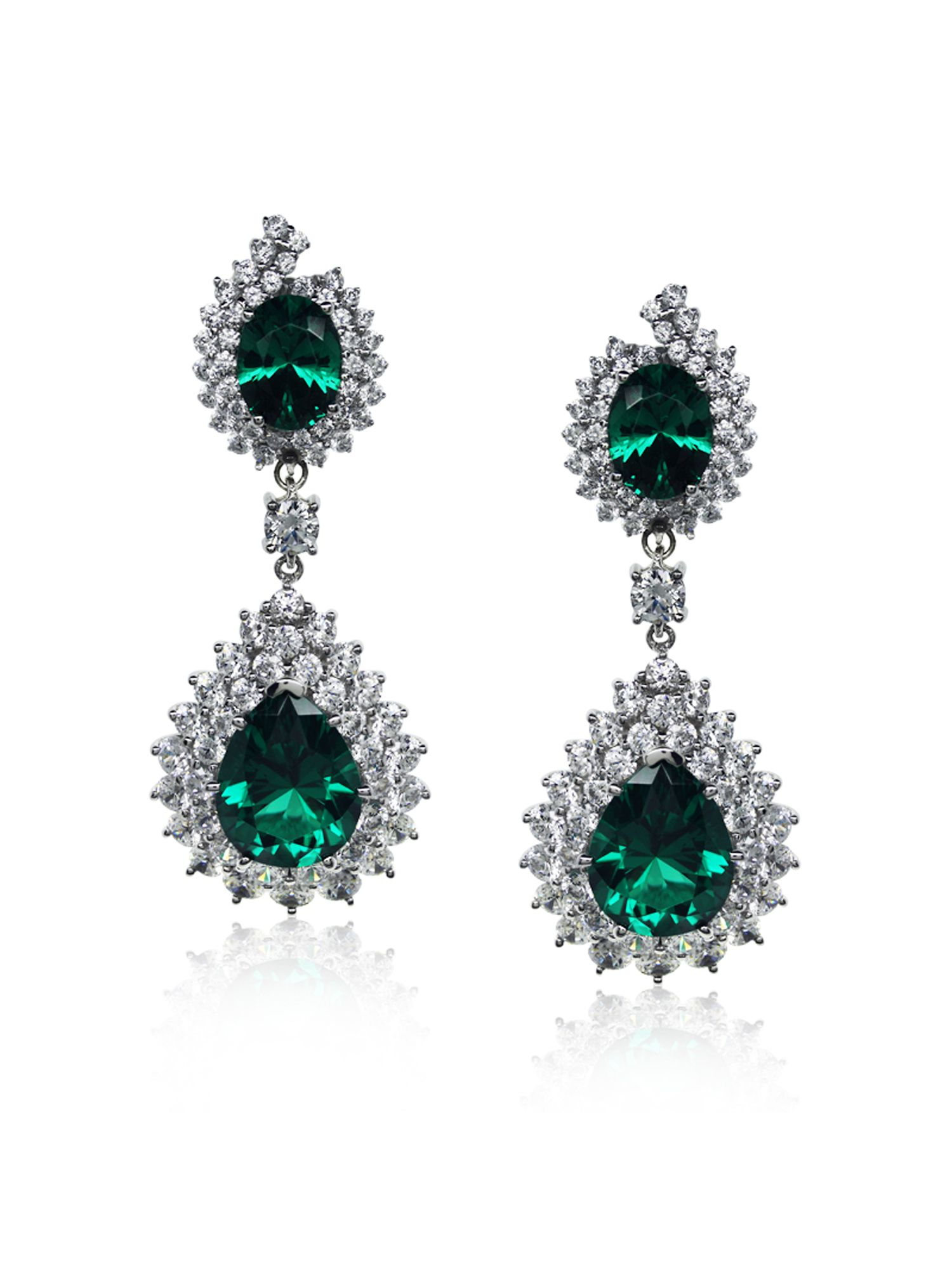 Emerald Pear Cluster Drop Earrings