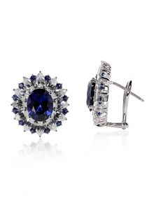 Sapphire Oval Cluster Earrings