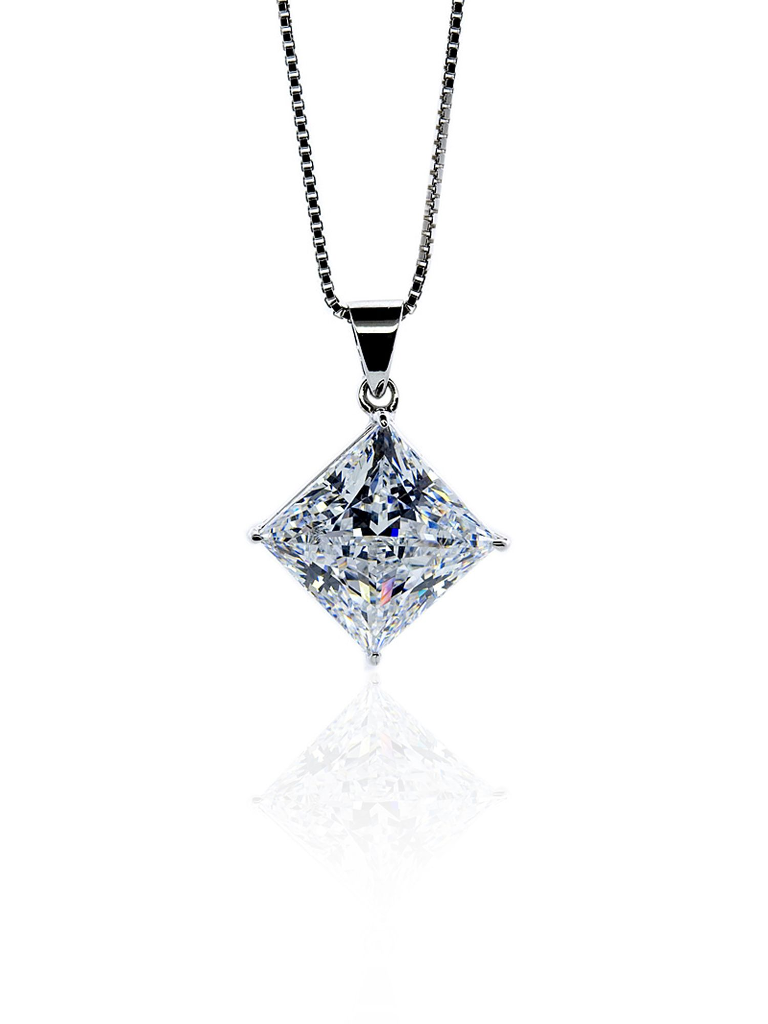 1ct Princess Solitaire Pendant with Chain