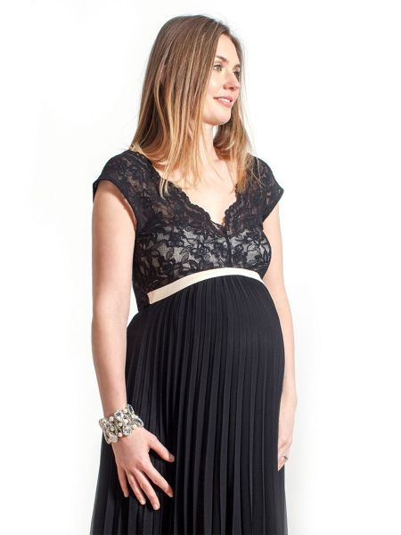 Rock-a-Bye Rosie Ciara lace pleated maternity dress