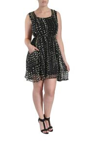Beaded polka dot dress