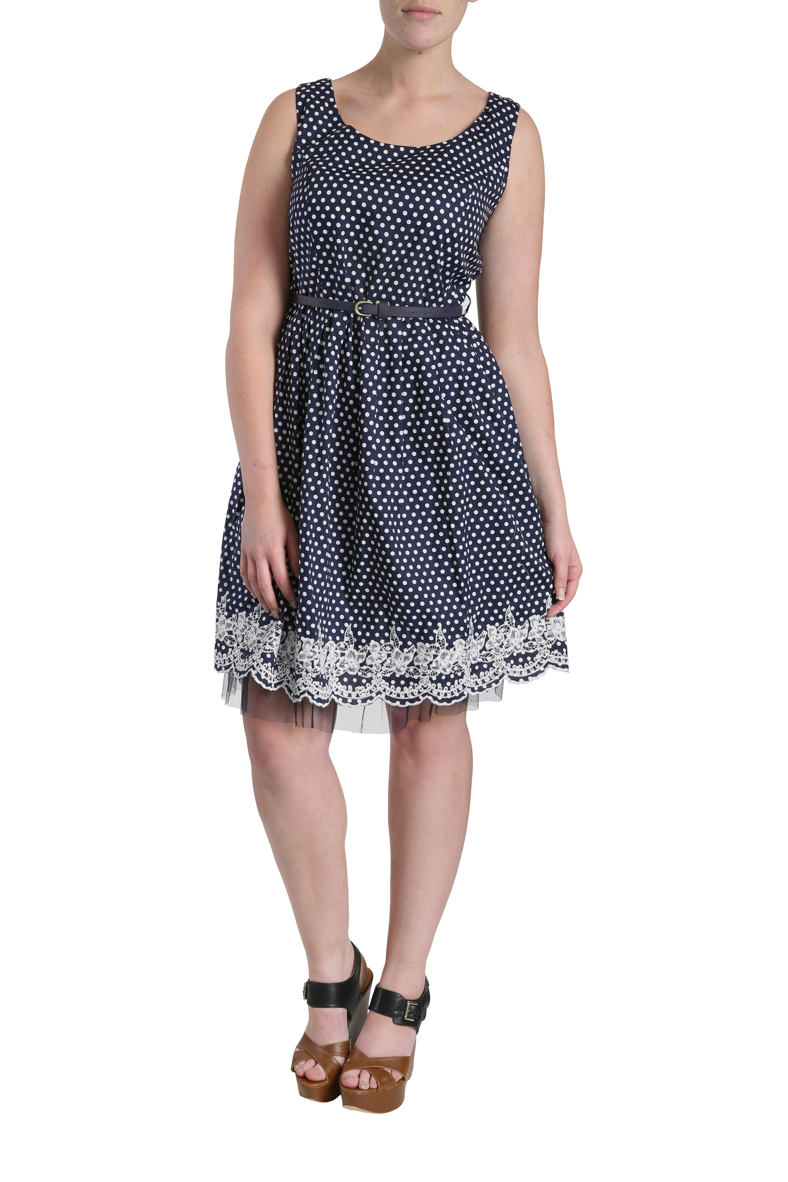 Spot dress with lace & net hem