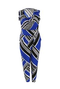 Plus Size Jumpsuit in diagonal stripe