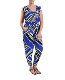 Samya Plus Size Jumpsuit in diagonal stripe