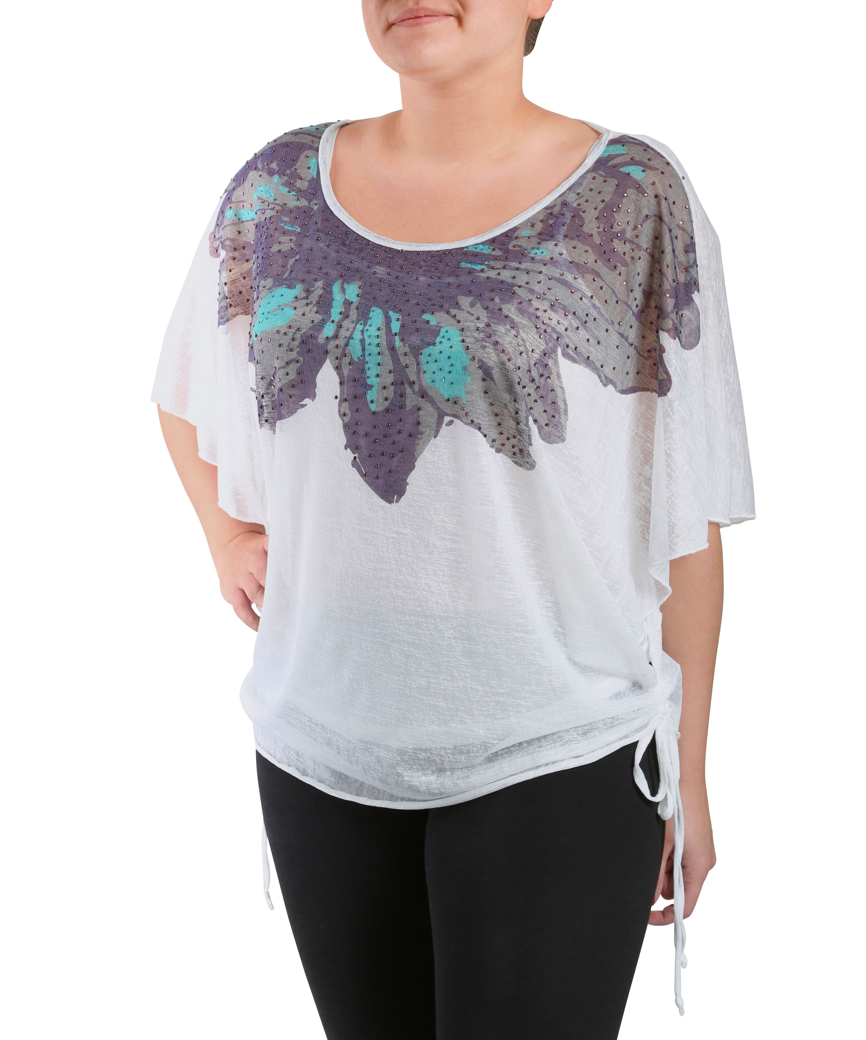 Kimono top with neck embellishment
