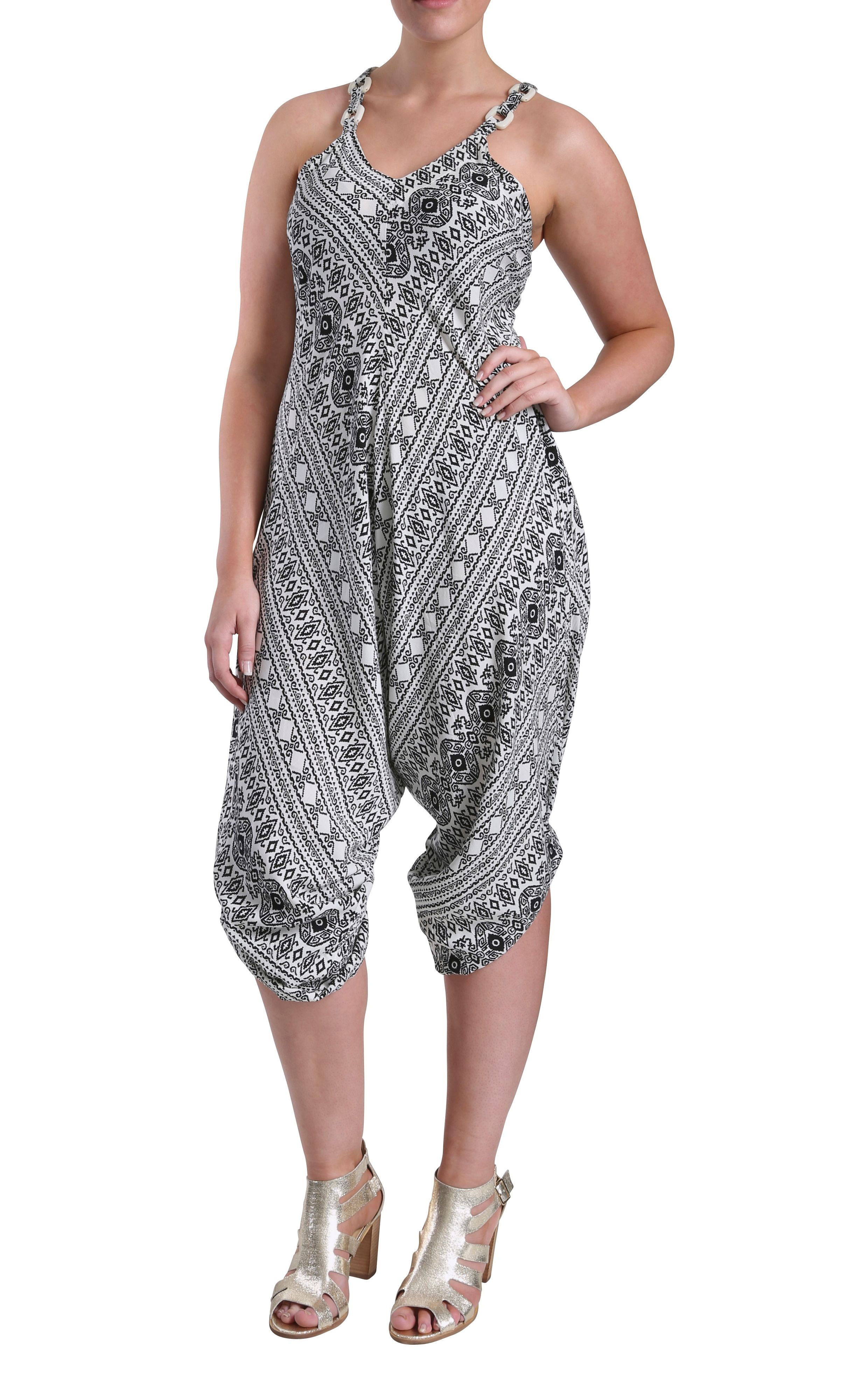 Wide leg geo print strappy jumpsuit