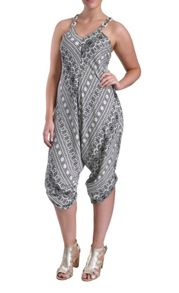 Plus Size Wide leg geo print strappy jumpsuit