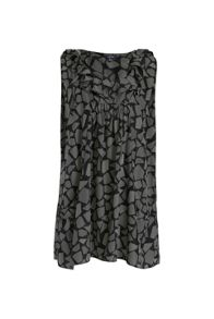 Geo print ruffle mini dress