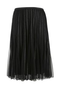 Layered pleated midi skirt