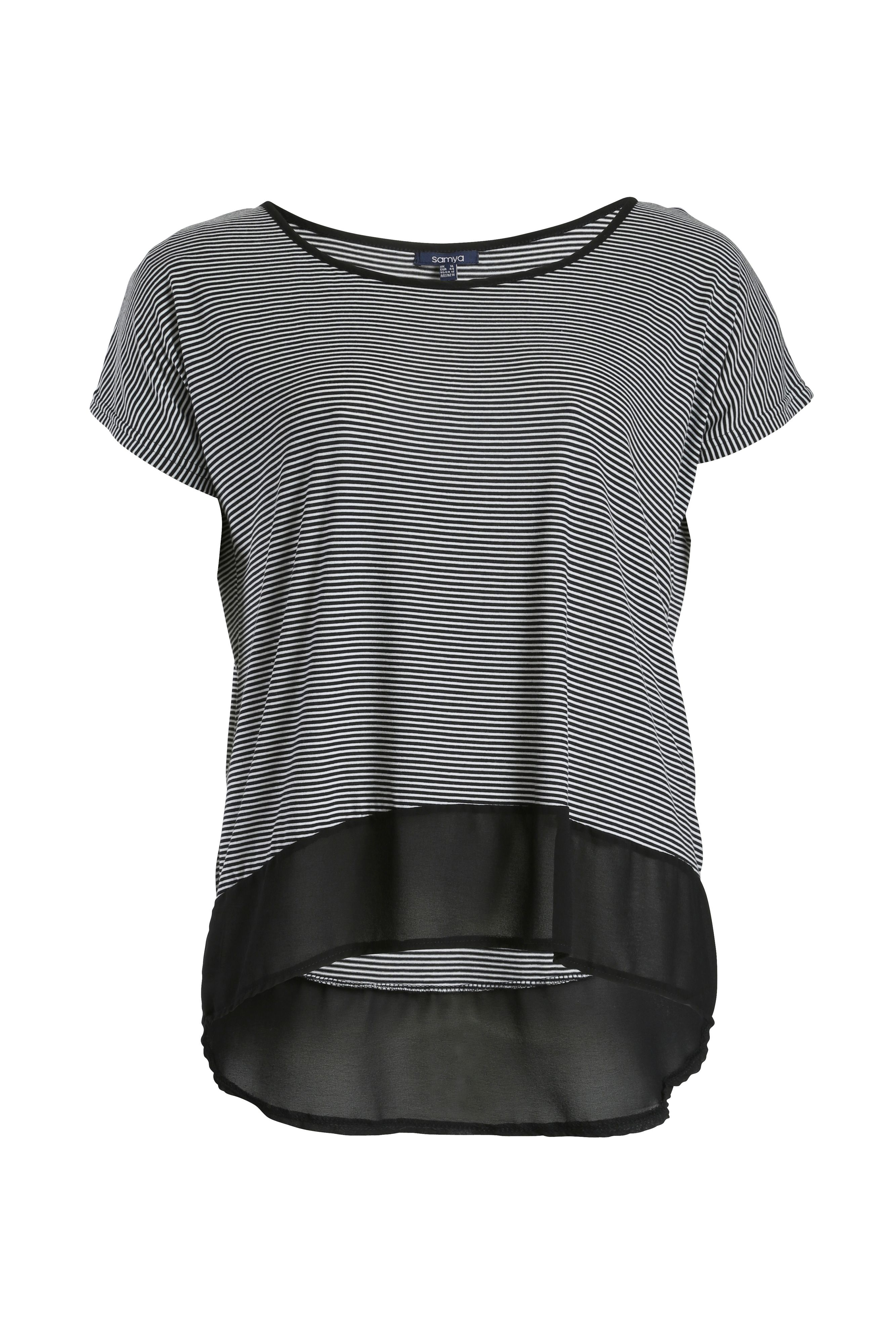 Stripe top with contrast dip hem
