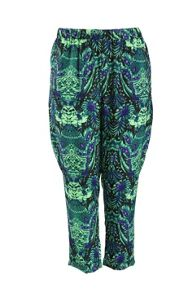 Plus Size Trousers in abstract print with zip