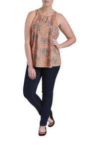 Racer back baroque printed top
