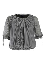 Striped chiffon blouson top