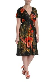 Multi flower print dress with crossover